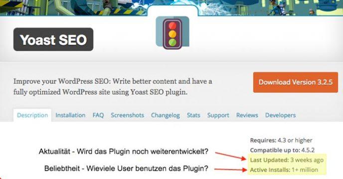 Wordpress Plugin Auswahl